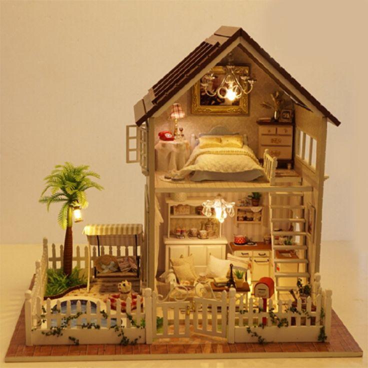 Diy 3D Деревянный Кукольный Домик Миниатюре Мебели Деревянной куклы свет Кукольный Домик Миниатюрный Дом Игрушки Подарки Дома игрушки Подарок На День Рождения купить на AliExpress