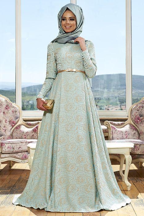 Mevra Mint Alya Tesettür Abiye Elbise