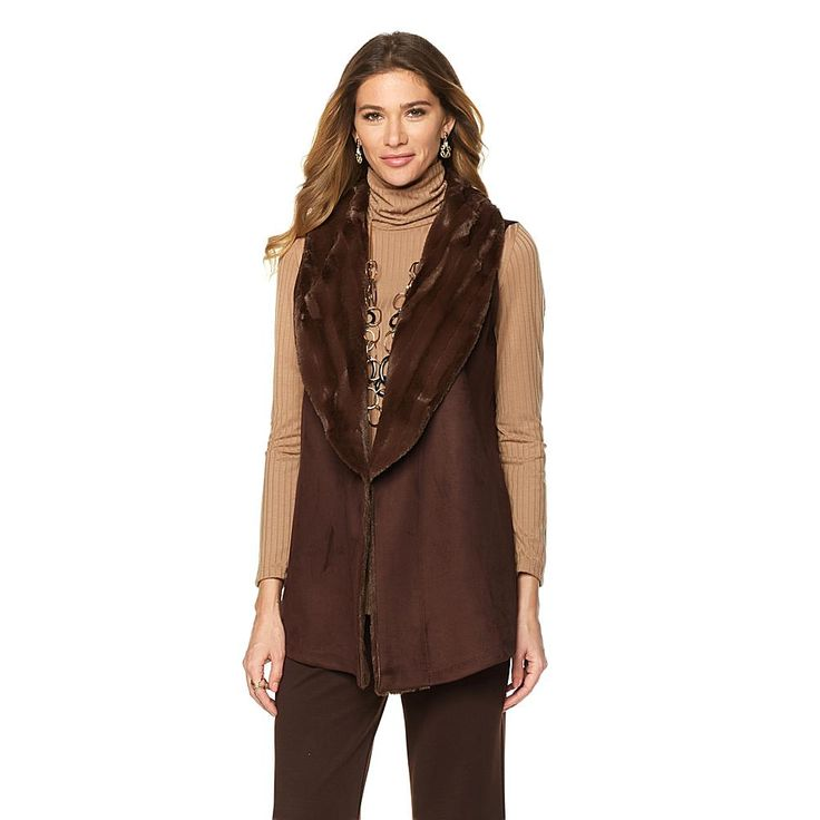 Slinky® Brand Faux Suede Vest with Faux Fur Collar - Brown