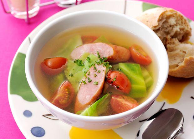 キャベツとウインナーの簡単コンソメスープ (レシピNo.2279)|ネスレ バランスレシピ  http://nestle.jp/recipe/recipe/2200_2299/02279.php  他のメニューも掲載中 http://p.nestle.jp/pint_recipe/