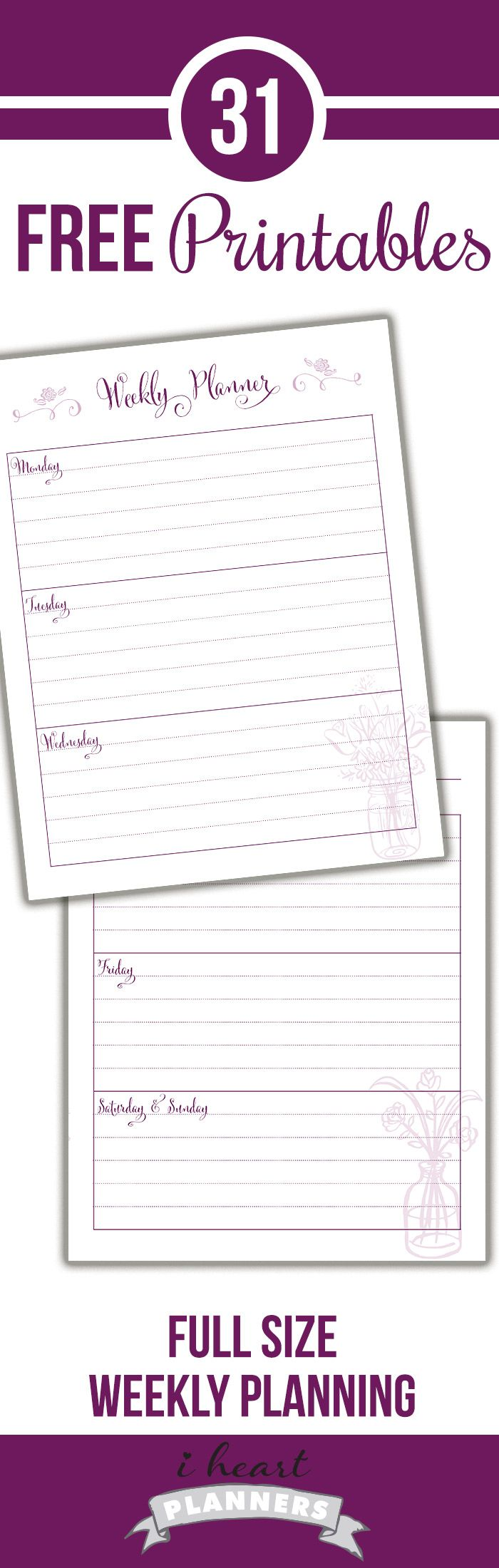 Weekly layout printable for your planner. It's pretty but doesn't use a lot of color ink, and it's FREE!