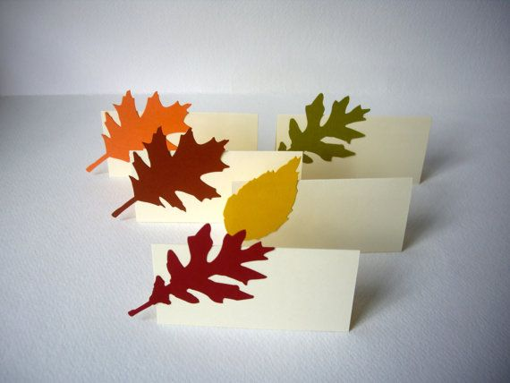 Leaf place cards fall place cards autumn place cards for Unique thanksgiving place card holders