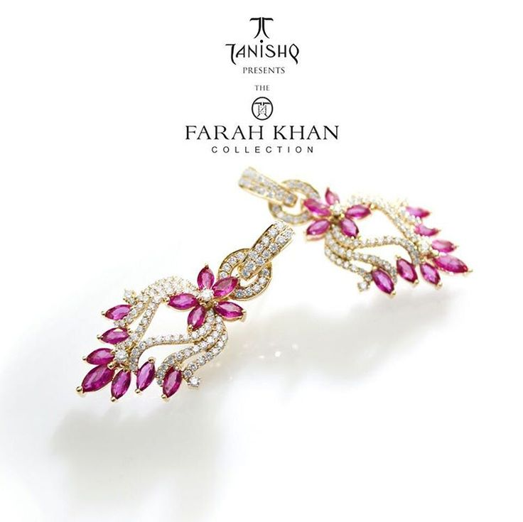 """""""And our matching floral diamond earrings to go with it. #thefarahkhancollection for #Tanishq #tanishqxfarahkhan . Available in 40 select Tanishq…"""""""