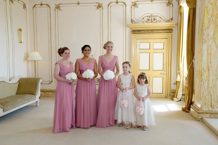 TrueBridesmaid M997 in dusky pink bridesmaid dresses; BHS Tess cream lace bodice flowergirl dresses; hydrangea bouquets. My gorgeous Essex country manor wedding (champagne gold, ivory and dusky pink colour scheme)