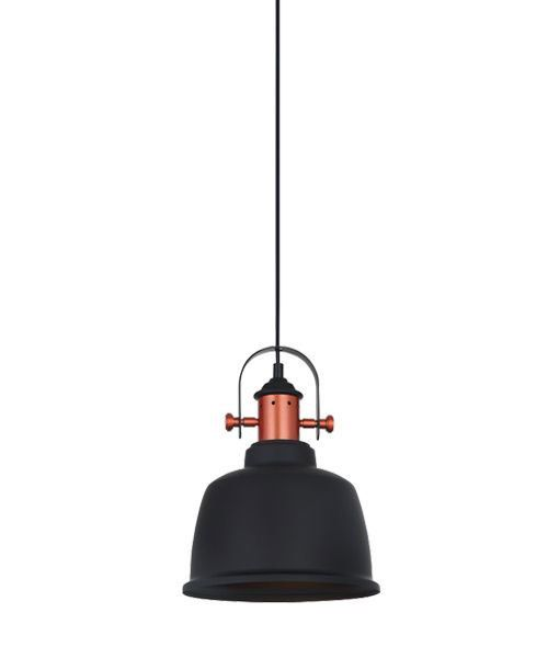 Industrial Pendant Light - Black Iron Bell, Copper Plated - Alta | CLA