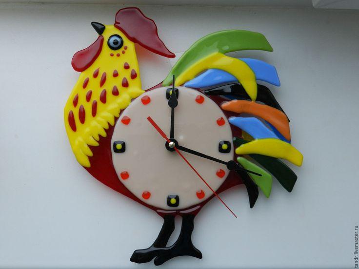 Купить часы петушок - ярко-красный, стекло, Фьюзинг, часы настенные, часы ручной работы