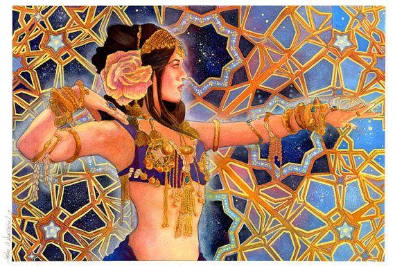 Goddess Inanna Art Psychedelic Bellydancer