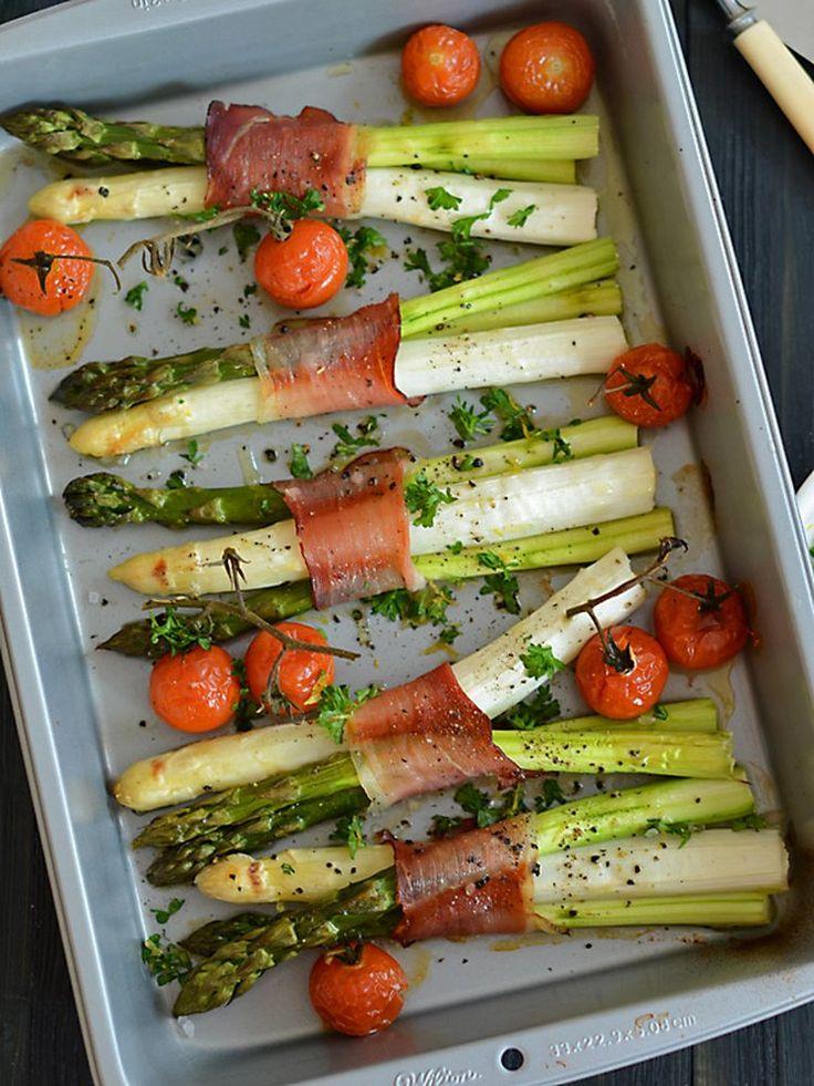 Szparagi zapiekane z szynką dojrzewającą i podawane z cytrynową gremolatą