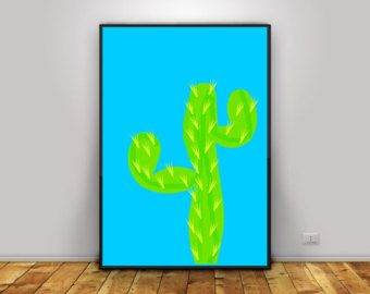 Printable wall art, Cactus art print, instant download, woman gift, gallery wall, southwestern decor, kid room poster, colorful print