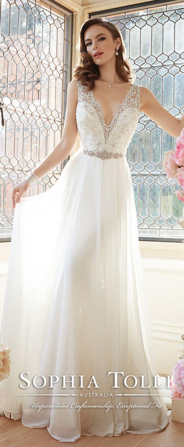 sophia tolli sleeveless angel chiffon v neck slim A-line wedding gowns spring 2016 Y11633