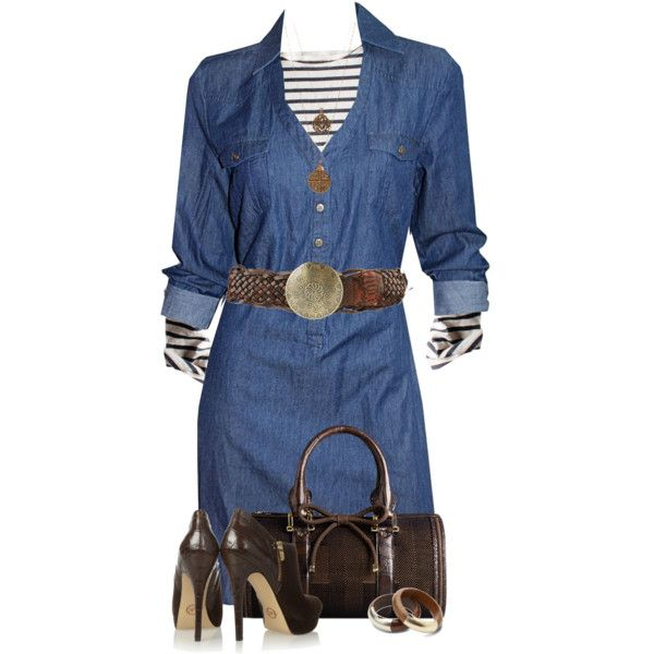 Denim Dress & Striped Shirt by daiscat on Polyvore featuring moda, ECI, MICHAEL Michael Kors, TOMS, Bee Charming, Forever 21 and Burberry