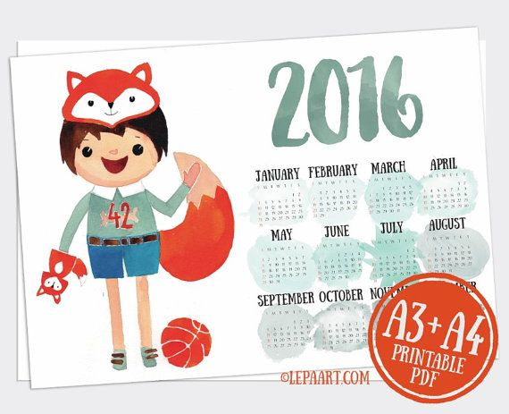 Printable Calendar 2016 yearly desk Calendar poster Classroom DIY wall Digital 2016 Planner 12 Month calendar, Fox, Colorful, room decor