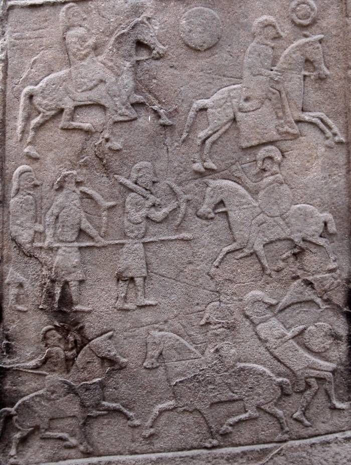 Picts on the Aberlemno 2 Stone (The kirkyard stone), Scotland