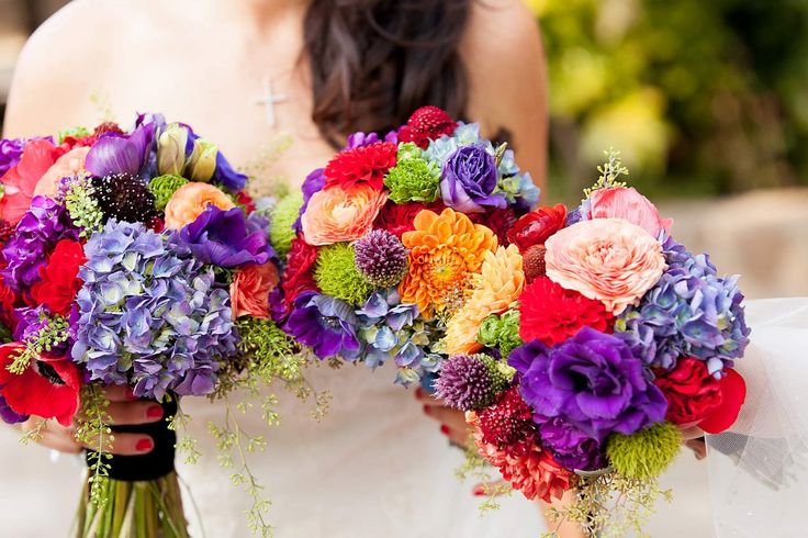 colorful, jewel tone bridal and bridesmaid bouquets by tulips & toadstools