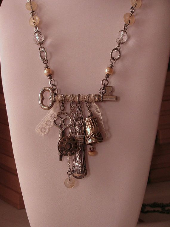RESERVED LISTING - Upcycled Jewelry - Sewing - Seamstress - Skeleton Key with Sterling Vintage Sewing Notions, Buttons, Treadle Key and Lace...