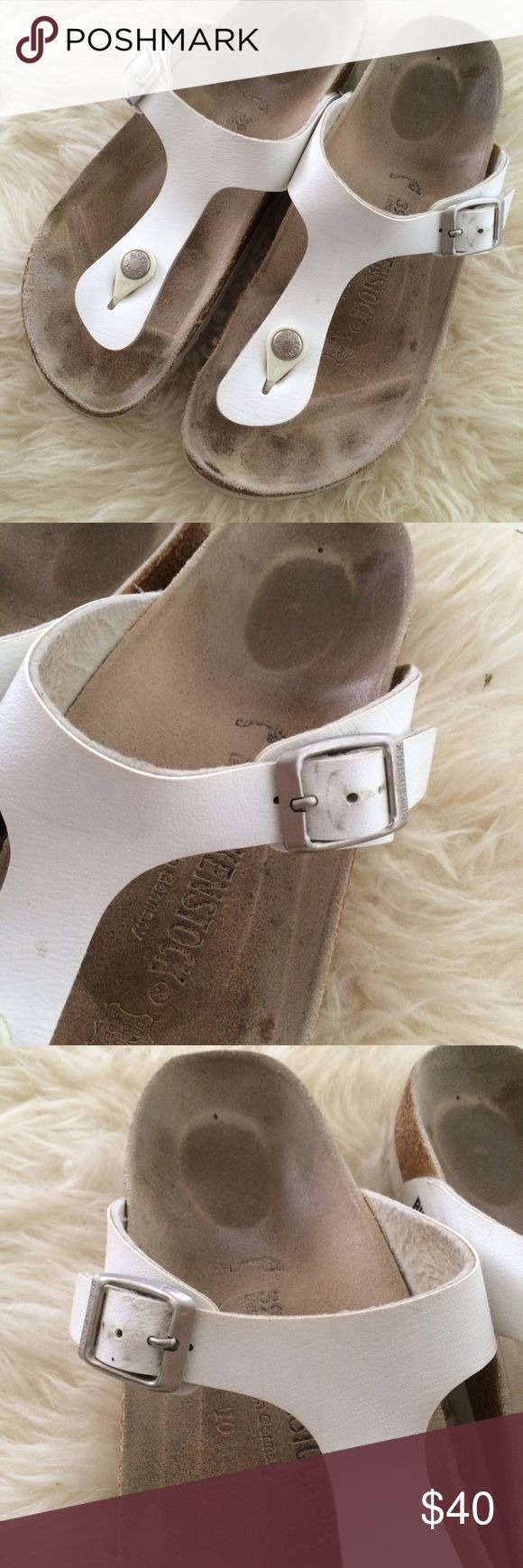 Birkenstock Gizeh size 39 narrow GUC These are a reposh. They are 39, which is sometimes listed as 9 US, but are too small for me. I would say they are best for 8.5. White uppers and soles. Obviously worn, but still lots of life for Birks. Birkenstock Shoes