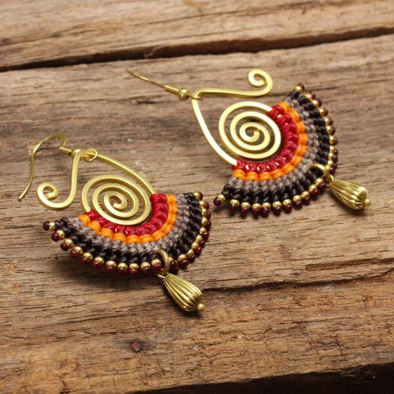 Brass and cotton dangle tribal earrings in red