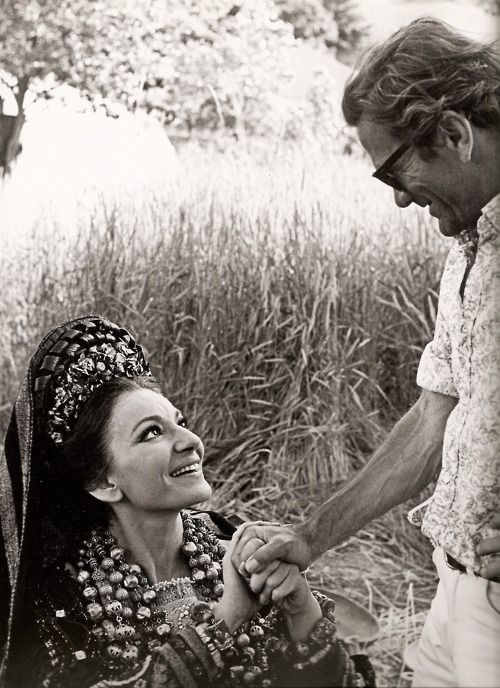 Maria Callas and Pier Paolo Pasolini on the Medea set.