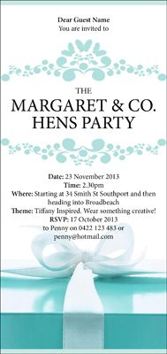 Tiffany & Co Inspired Hens Night Invitations. Can be changed for Bridal Showers, Birthdays or anything!