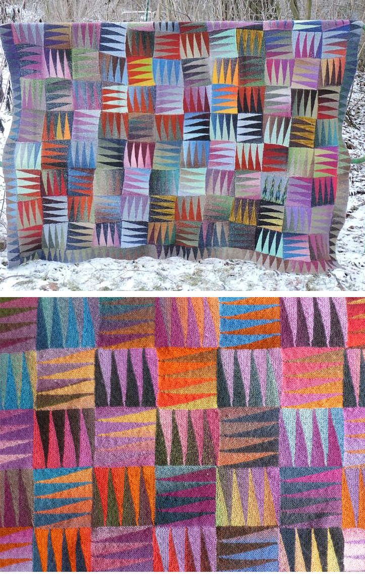 Free Knitting Pattern for Happy Blanket - This afghan uses short rows to create triangle patterned squares from your stash or scrap yarn. Knit in section rows of 7 separate garter stitch pieces. Designed by Camilla Gugenheim. Pictured project by Mirja. Also makes a fun scarf or shawl. Available in English and Italian.