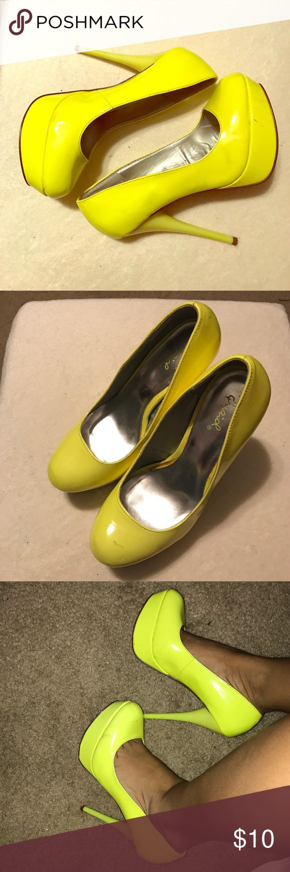Neon yellow qupid high heels! Yellow neon heels, worn condition! There's a few scuffs as you can see on the pictures, a lot of life left! Not forever21, listed for exposure! Forever 21 Shoes Heels