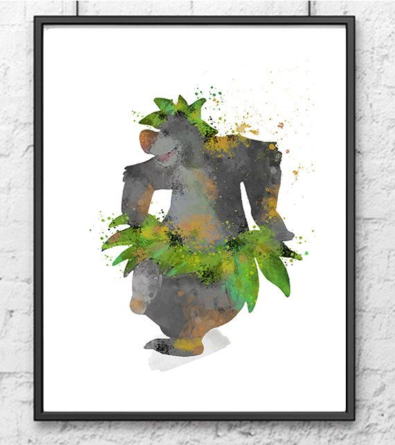 The Jungle Book Watercolor Baloo Dancing by gingerkidsart on Etsy