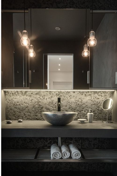 Powder room guest wc bathrooms pinterest wall for Powder room lighting