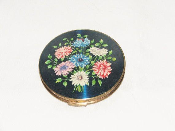 Vintage Stratton Enamel Flower powder compact Blue by Fabvintage1, £29.99