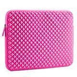 Laptophülle | Evecase Universal Neopren Anti-Schock Laptop Schutzhülle mit Rautenmuster / Diamant-Muster Schaumpolsterung für 15.6 Zoll Laptops Tablets Macbooks Notebooks Chromebook - Hot Pink