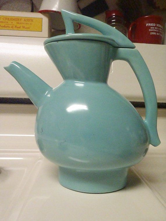 Rare 1950's Turquoise Coffee/Tea Ceramic Pot by BootyButtons, $99.99