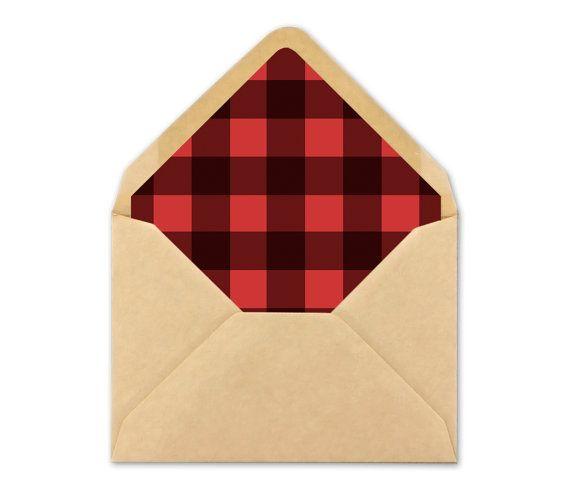 Printable Plaid Envelope Liner. Red Buffalo plaid by BlushedDesign