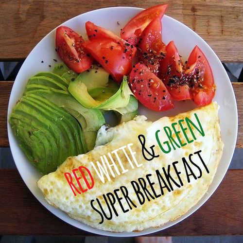 easy meal that took about 5 minutes to make and kept me full all morning. Ingredients: 1/3 cup 100% Egg whites 1/2 hass avocado 1 large tomato Cracked pepper Garlic salt for taste Prepare the egg whites as you would an omelet, slice the avo, cut the mato, add as much seasoning as you want, and youre DONE! :) Nutritional Info: Cal-200 / Carb-14g / Protein-15g / Fiber-7g