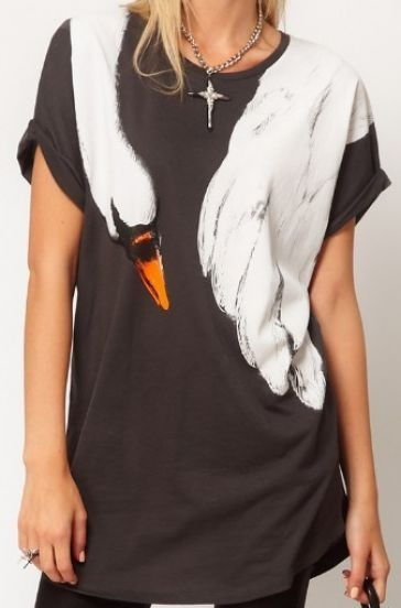 Grey Short Sleeve Shoulder Swan Print Loose T-Shirt