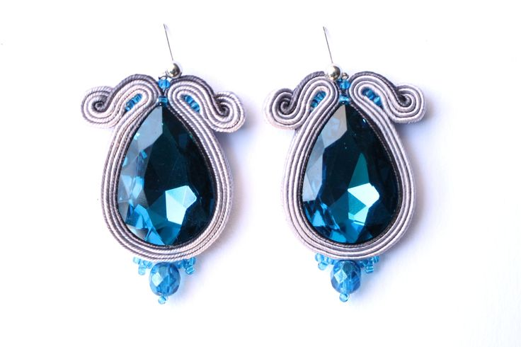 royal blue ball soutache earrings. handmade. leniccka. swarovski