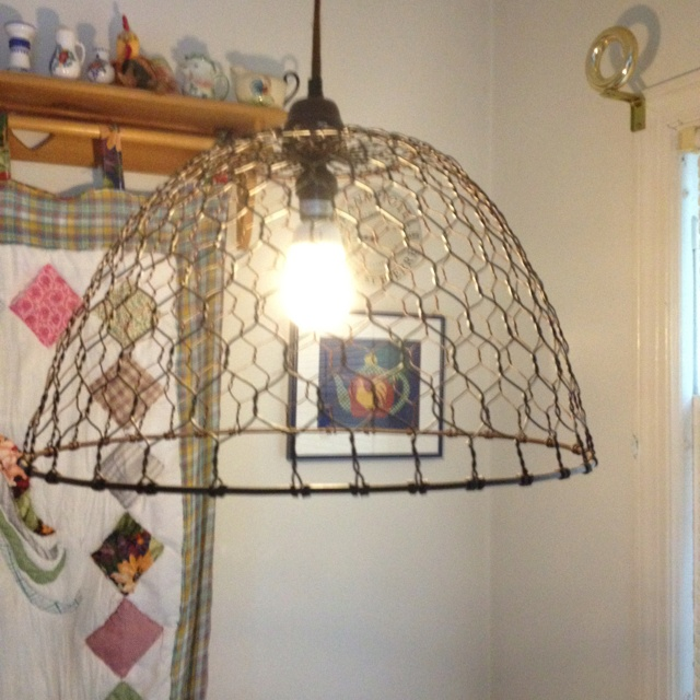 Cute Chicken Wire Light In Rooster Themed Kitchen Chickens Pinterest Wire Love And Roosters