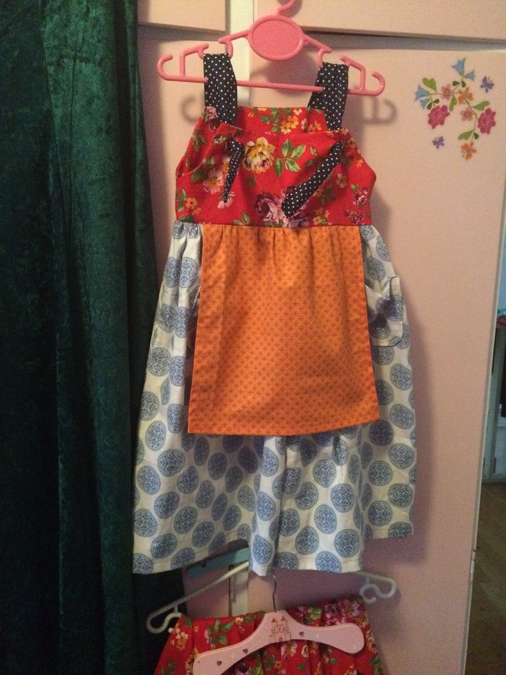 Apron knot dress made with fabric leftovers
