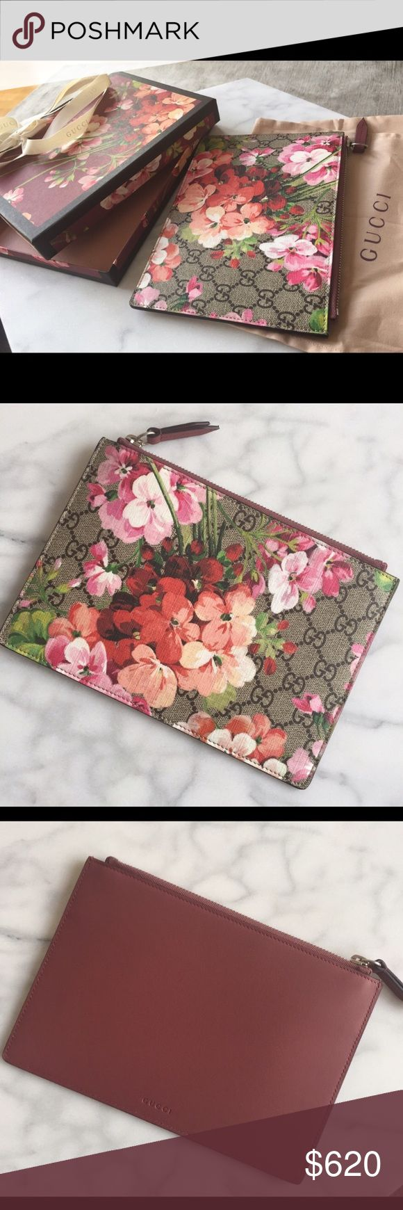 """Beautiful Gucci Bloom Pouch / clutch Brand new authentic and immaculate. Absolutely beautiful case/ pouch in Blooms print on GG Supreme canvas. One side is GG Blooms print the other is plain merlot color. Approx measurements 6"""" wide 8.5"""" long it is envelope pouch style. Comes with original pretty Box and ribbon and dust bag. Price is firm. No returns. Gucci Bags Clutches & Wristlets"""