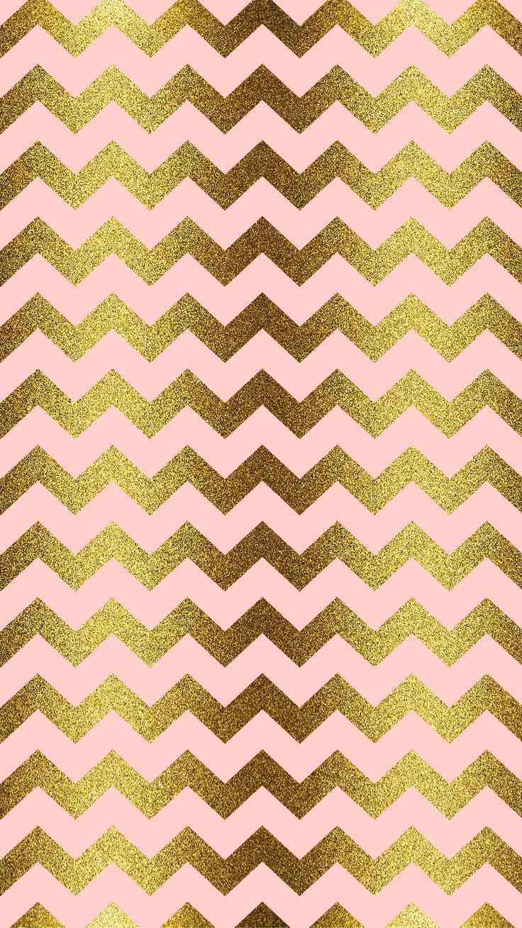 Gold glitter, blush pink, chevron | iPhone Wallpaper