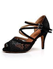 Chaussures de danse(Noir / Rouge / Blanc) -Personnalisables-Talon Aiguille-Dentelle-Latine / Baskets de Danse / Salsa