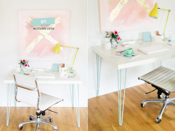 Turquoise hairpin legs desk