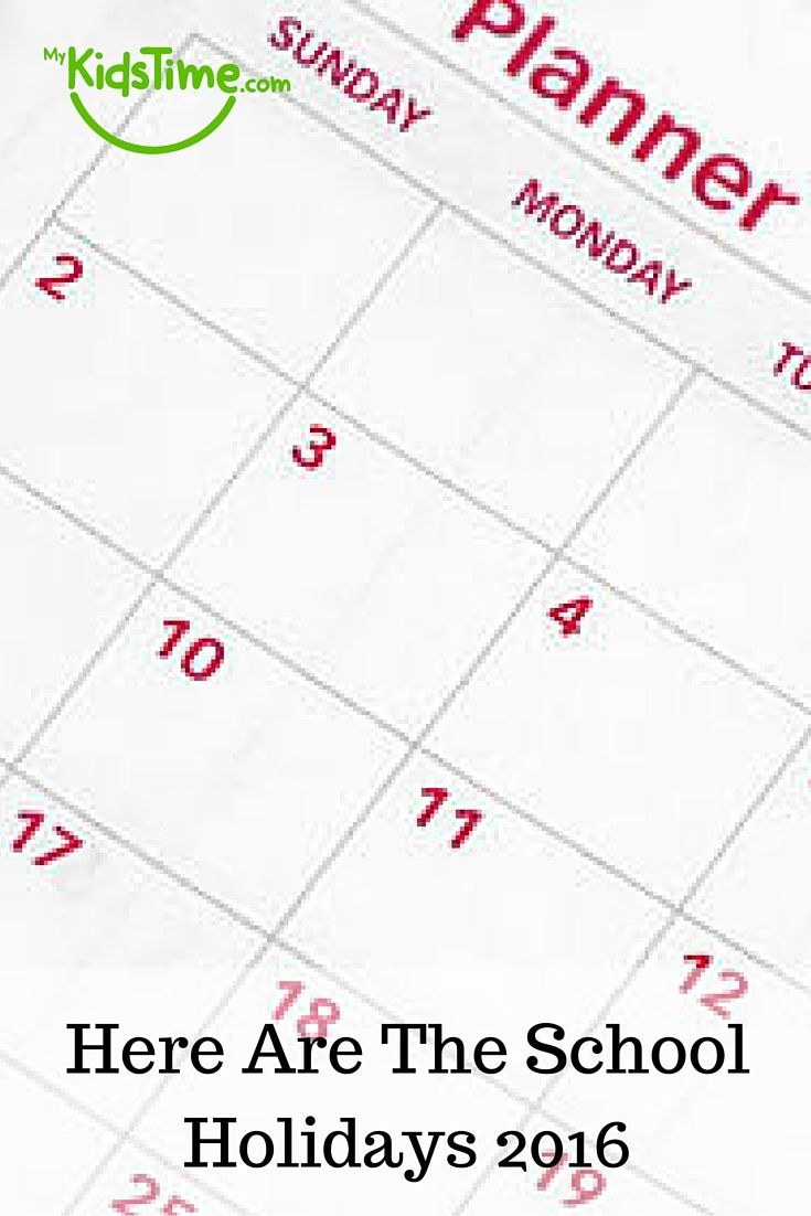 Knowing the school holidays in advance can help you plan. So here are the school holiday dates for 2016 to 2017 for schools in different places.
