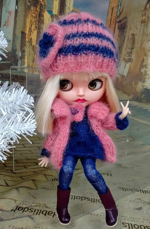 Ensemble for Blythe dolls, cardigan,long knit top, hat, pantyhose,boots