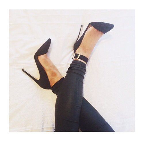 I love black heels, and I love heels with straps at the ankles. These are perfect