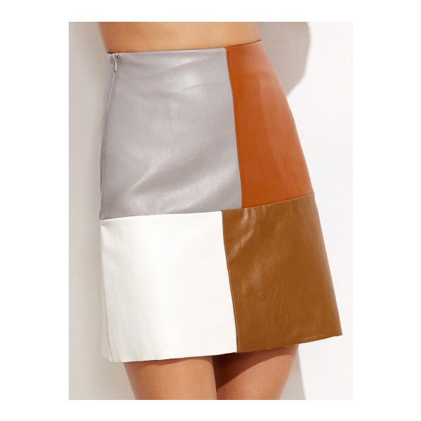 SheIn(sheinside) Color Block Faux Leather Skirt (£16) ❤ liked on Polyvore featuring skirts, multi, faux leather a line skirt, white a line skirt, stretch skirts, color block skirt and white skirt