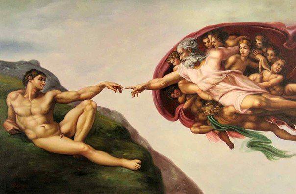 "Микеланджело Буонарроти ""Сотворение Адама"",(1511)."