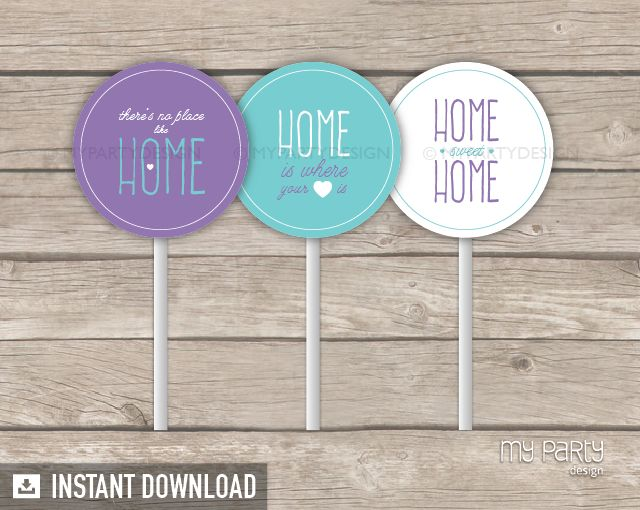 House Warming Party PRINTABLE Cupcake Toppers - My Party Design