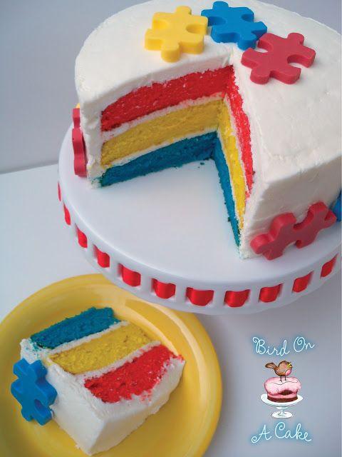 Puzzle Cake Tutorial ~ autism awareness ~ www.thirtyhandmadedays.com from Bird on A Cake