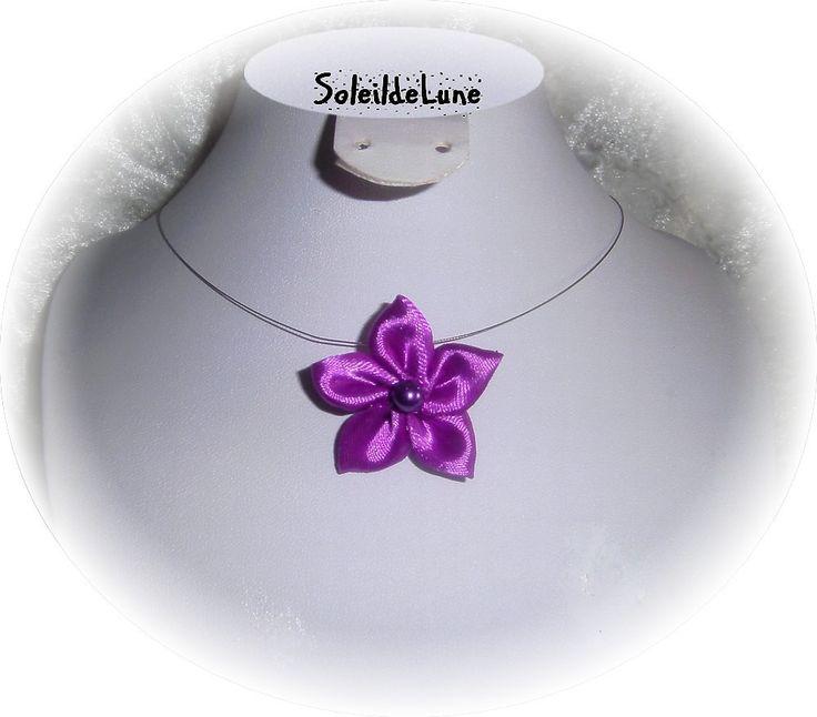 Collier petite fleur lilas violette satin Mariage demoiselle d'honneur fillette, enfant, fête, cérémonie, personnalisable : Bijoux enfants par soleildelune-bijoux-mariage