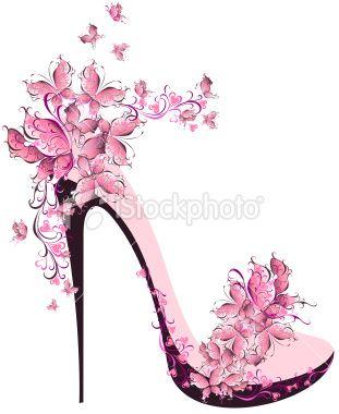 Hermoso simplemente: el símbolo de la feminidad: un hermoso zapato de tacón en rosa, flores y mariposas