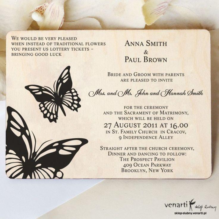 Motyl Drewniane zaproszenia DZ068